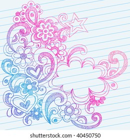 Hand-Drawn Abstract Sketchy Doodles on Lined Notebook Paper Vector Illustration