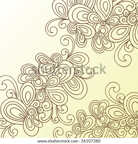 Hand Drawn Abstract Swirls Doodle Henna Vector Stock Vector Royalty