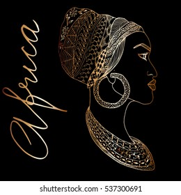 Hand-drawn african woman in sketch golden style with mehndi elements, indian pattern. Outline vector. Perfect for bags design, print on t-shirt.