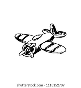 Handdrawn airplane doodle icon. Hand drawn black sketch. Sign cartoon symbol. Decoration element. White background. Isolated. Flat design. Vector illustration.