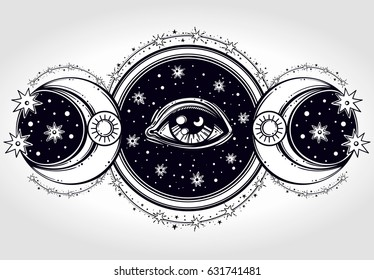 Hand-drawn All-seeing eye is on the circle with two moons and a starninght sky. Religion philosophy, spirituality, occultism, chemistry, science, magic.Isolated vector illustration.