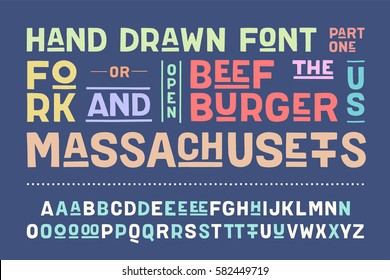 Hand-drawn alphabet and font. Bold, regular and medium uppercase letters, alternative characters. Hand-drawn sketch sans serif font for design, advertising, typographic. Part One. Vector Illustration