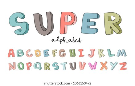 Doodle letters images stock photos vectors shutterstock hand drawn alphabet font letters doodle abc for kids vector illustration thecheapjerseys Choice Image