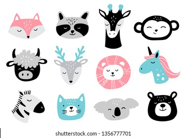 Hand-drawn Animal Faces Set. Cute doodle cartoon Animals: fox, raccoon, giraffe, monkey, buffalo, deer, lion, unicorn, zebra, cat, koala, bear. Vector illustration good for logo, posters or t-shirts