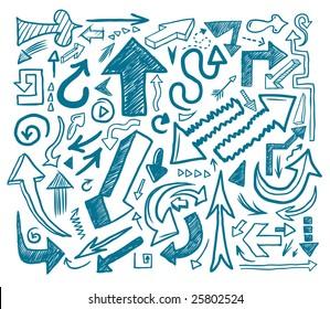 Hand-drawn arrow doodles. Vector illustration.