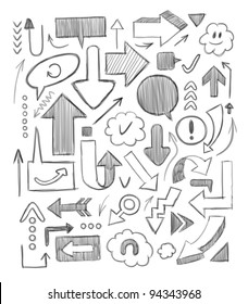 Hand-drawn arrows set. Vector illustration.