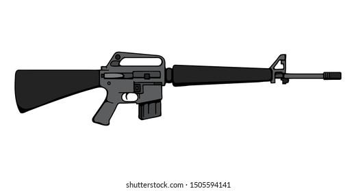 Hand-drawn Assault rifle M16. Cartoon Art