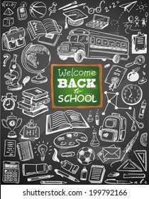 hand-drawn back to school collection on chalkboard