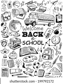 hand-drawn back to school doodles