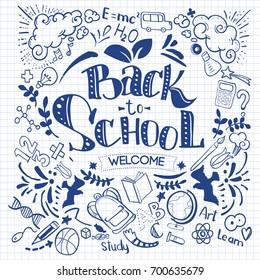 Hand-Drawn Back to School Sketchy Notebook Doodles with Lettering, Book, Heart. Vector Illustration Design Elements on Lined Sketchbook Paper Background