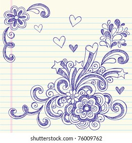 Hand-Drawn Back to School Sketchy Notebook Doodles with Swirls, Hearts, and Stars- Vector Illustration Design Elements on Lined Sketchbook Paper Background