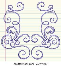 Hand-Drawn Back to School Swirly Sketchy Notebook Doodles Vector Illustration Design Elements on Lined Sketchbook Paper Background
