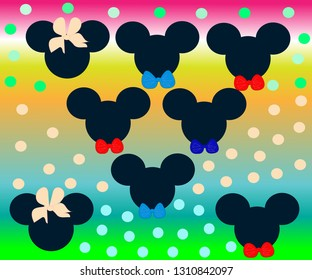 Hand-drawn background mickey mouse girl and boy with bows on polka dot colorful background
