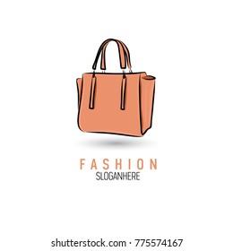 Hand-drawn bag icon or logo template. Handbag. Sketch.