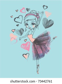 hand-drawn ballerina in tutu with sketched hearts