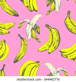 Hand-drawn of banana. Seamless nature background. Fresh organic food. Pink and yellow. Sketch style.