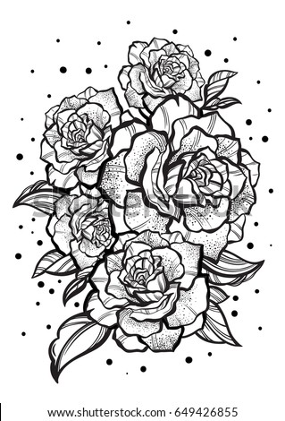 Handdrawn Beautiful Roses Tattoo Art Graphic Stock Vector Royalty