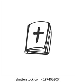 Hand-drawn Bible isolated on white background. Christian symbols. The sacred book of God. Gospel. Religion and Christianity. Vector illustration