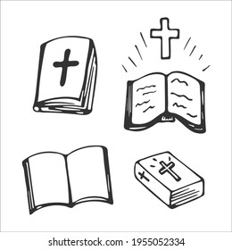Hand-drawn Bible set isolated on white background. Christian symbols. Holy book of God. Gospel. Religion and Christianity. Vector illustration