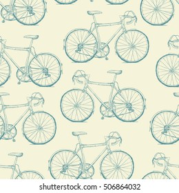 Hand-drawn Bicycles Seamless Pattern. Vintage retro background