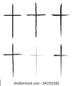Hand-drawn black crosses shapes, Christian crosses black silhouettes collection isolated over white background, latin cross set vector illustration
