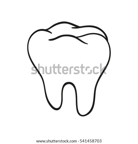 Hand Drawn Black Lines Sketch Molar Tooth Doodle Drawing Object Element Icon Component For Illustration Design Brochures Dentistry