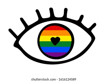 Hand-drawn black outline eye with eyelashes isolated on white background. Loving look with Heart shaped eye pupil of a rainbow color. Symbol of love, romance, equality, LGBT, gays, lesbians, Valentine