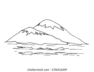 Hand-drawn black outline simple vector drawing. Contour of snowy mountain, lines, hills, panoramic landscape, rocky terrain. Tourism, sport, travel, mountaineering. Wildlife of mountainous countries.