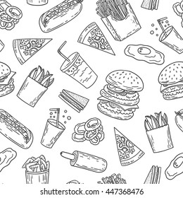 Hand-drawn black and white seamless american fast food pattern with burger, fries, hot dog and pizza. Vector illustration.