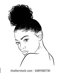 Hand-drawn black woman with curly bn and luxurious hair. Girl with perfectly shaped eyebrows and full lashes. Idea for business visit card, typography vector. Perfect salon look.