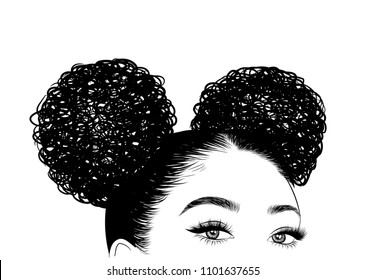 Hand-drawn black woman with curly double bun and luxurious hair. Girl with perfectly shaped eyebrows and full lashes. Idea for business visit card, typography vector. Perfect salon look.