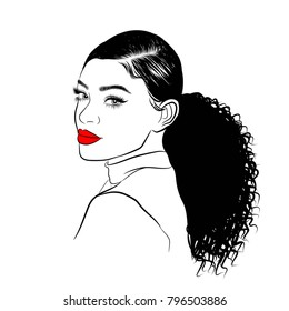 Hand-drawn black woman with curly ponytail and luxurious hair. Girl with perfectly shaped eyebrows and full lashes. Idea for business visit card, typography vector. Perfect salon look.