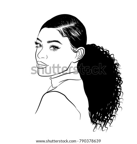 Handdrawn Black  Woman Curly  Ponytail Luxurious Stock