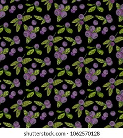 handdrawn blueberry seamless pattern on black background, vector illustration
