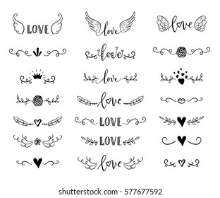 Handdrawn borders set with hearts, crown, wings for Valentines Day and wedding greeting cards, posters. Vector icon.