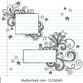 Hand-Drawn Borders with Stars and Swirls Sketchy Notebook Doodles Vector Illustration on Lined Sketchbook Paper Background