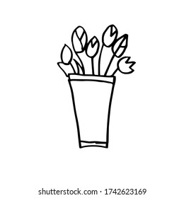 Hand-drawn bouquet of tulips in a bucket. Black and white Doodle vector illustration