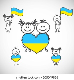 hand-drawn boy and girl holding flag on a white background, cartoon doodle. Ukraine