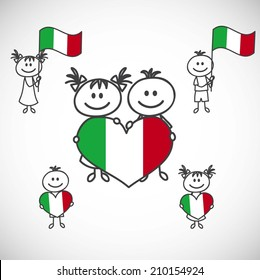 hand-drawn boy and girl holding flag on a white background, cartoon doodle. Italy