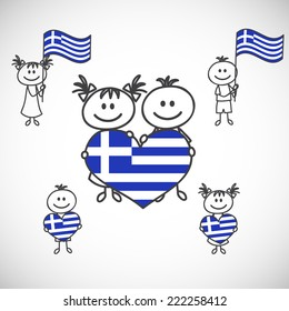 hand-drawn boy and girl holding flag on a white background, cartoon doodle. Greece