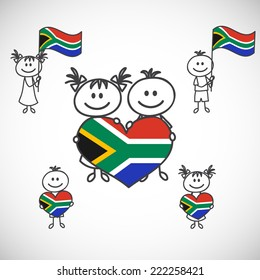 hand-drawn boy and girl holding flag on a white background, cartoon doodle. South Africa