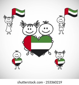 hand-drawn boy and girl holding flag on a white background, cartoon doodle. United Arab Emirates