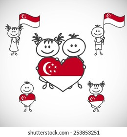 hand-drawn boy and girl holding flag on a white background, cartoon doodle.Singapore