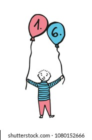 Hand-drawn boy holding two balloon where the date is 1. 6. (children's day). Black outline and color fill (pink, blue). Colored drawing on white background.