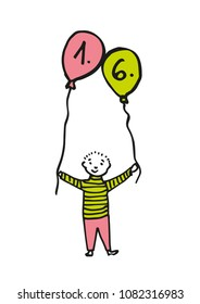 Hand-drawn boy holding two balloon where the date is 1. 6. (children's day). Black outline and color fill (pink, green). Colored illustration isolated on white background. Vector eps 10.