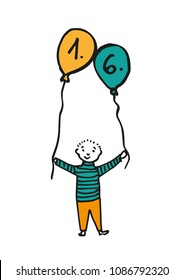 Hand-drawn boy holding two balloon where the date is 1. 6. (children's day). Black outline and retro color fill (orange, blue). Colored illustration isolated on white background. Vector eps 10.