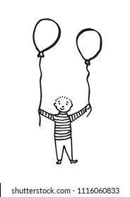 Hand-drawn boy holding two balloons. Black outline. Illustration isolated on white background. Use as background, invitation for children's day, birthday party etc. Vector eps 10.