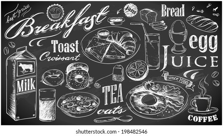 hand-drawn breakfast food collection on chalkboard