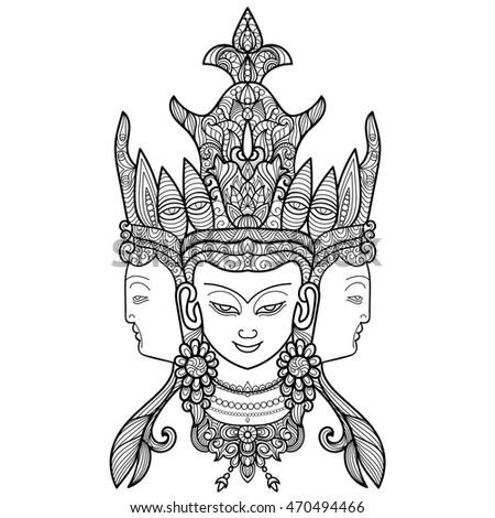 Handdrawn Buddha Head Head Buddha Coloring Stock Vector Royalty