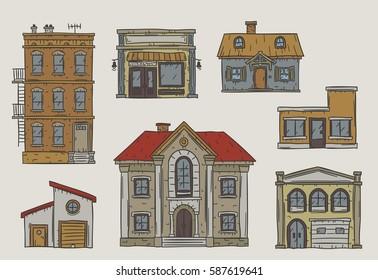 Handdrawn buildings set in a vintage sketchy style